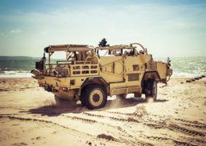 beige military truck