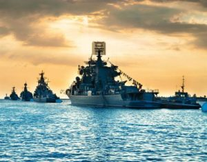 Military vessels on the sea