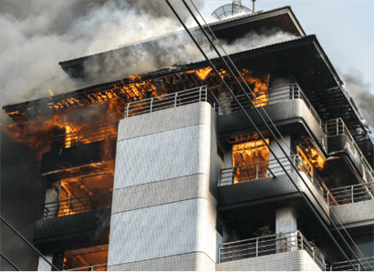 Building on fire from arsonist