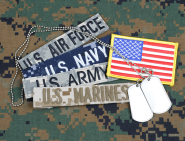 selection of insignia for all the branches of the US Military
