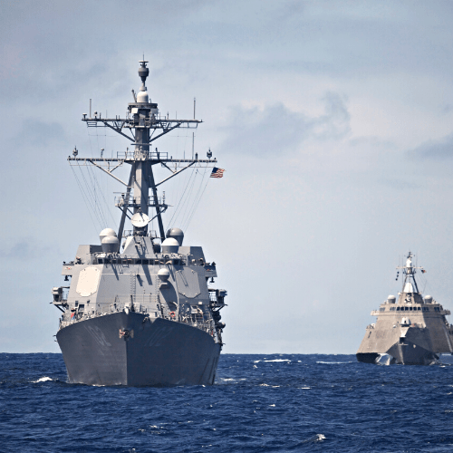 Navy Ships moving on water