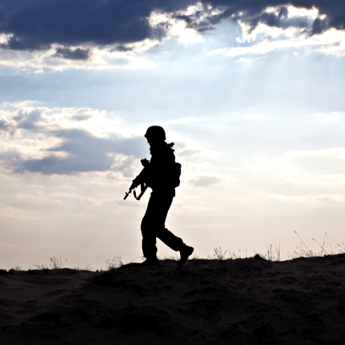 A soldier walking