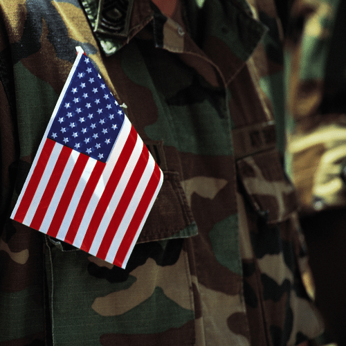Flag on an American soldier