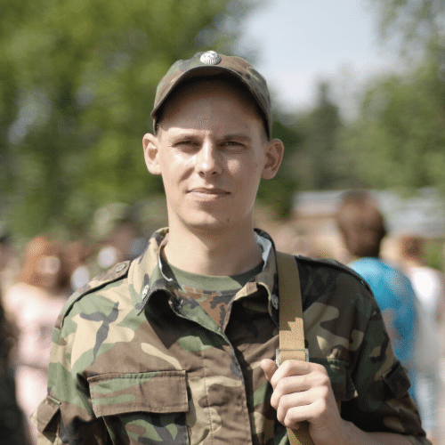 An American soldier staring straight