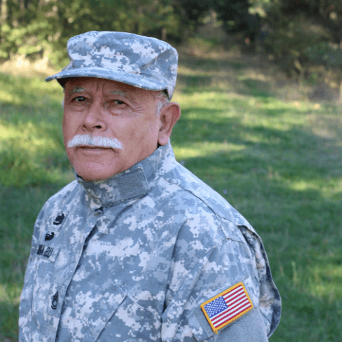 A retired military officer in uniform