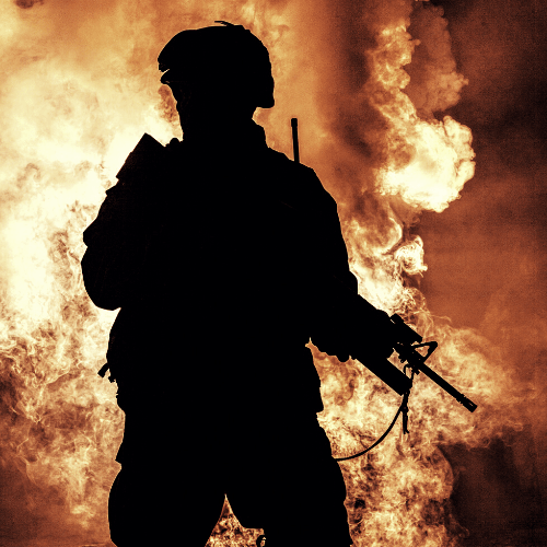 A soldier with a fiery background