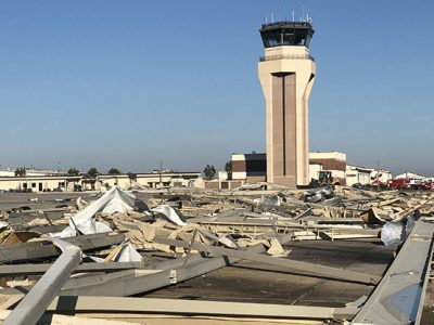 TYNDALL AIR FORCE BASE, Florida -- Hangers once used to keep aircraft out of the elements now lie scattered across the flight line following Hurricane Michael on October 10, 2018. Hurricane Michael is the third largest hurricane to make landfall in the United States, reaching peak winds of 155 miles per hour.  (U.S. Air Force photo by Staff Sgt. Alexander C. Henninger)